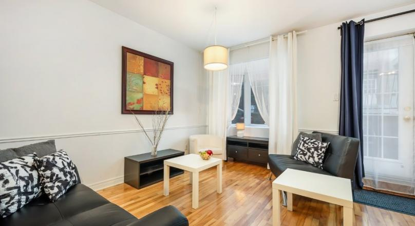 Entirely furnished and equipped apartment, large private terrace-available now!