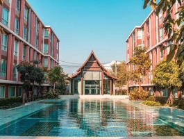 A 61 Sq M Two bedrooms apartment on 4floor with Swimming pool view at D'Vieng condo